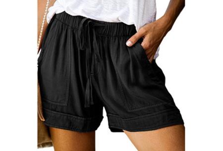 Comfy dames short   High waist korte broek in 10 kleuren Zwart