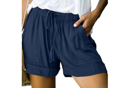 Comfy dames short   High waist korte broek in 10 kleuren Donkerblauw