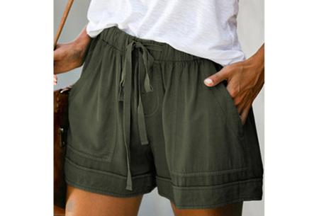 Comfy dames short   High waist korte broek in 10 kleuren Groen