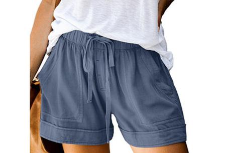 Comfy dames short   High waist korte broek in 10 kleuren Blauw
