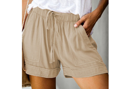 Comfy dames short   High waist korte broek in 10 kleuren Khaki