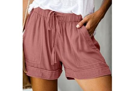 Comfy dames short   High waist korte broek in 10 kleuren Oudroze