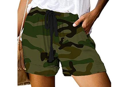 Comfy dames short   High waist korte broek in 10 kleuren Legerprint