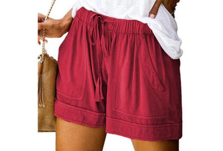 Comfy dames short   High waist korte broek in 10 kleuren Wijnrood