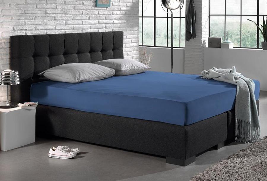 Dreamhouse jersey hoeslakens Maat 140 x 200 cm - Blauw
