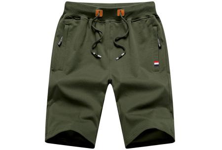 Heren joggingshort   Comfy korte broek voor heren  Legergroen