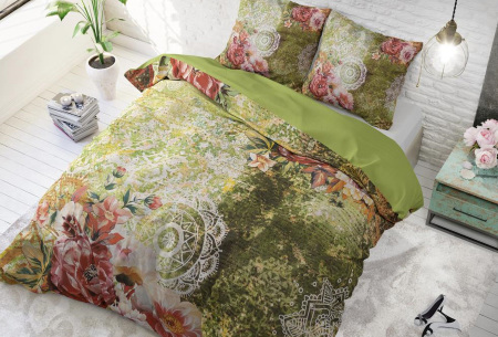 Dekbedovertrek van Dreamhouse   Katoenen dekbedovertrek met print Green flower