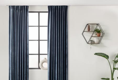 Velvet gordijnen   Luxe verduisterende gordijnen! - in 7 kleuren Donkerblauw - haken