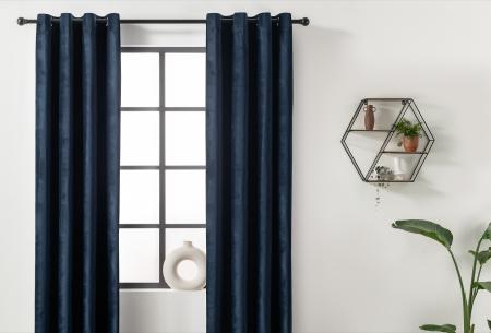 Velvet gordijnen   Luxe verduisterende gordijnen! - in 7 kleuren Donkerblauw - ringen