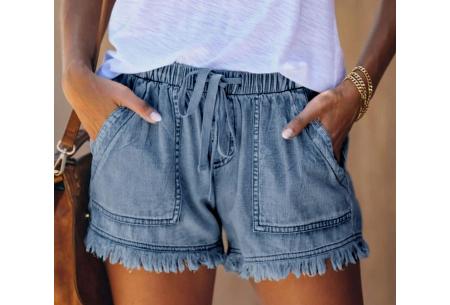 Denim short   Korte damesbroek van jeansstof - in 5 kleuren Grijsblauw
