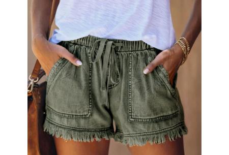 Denim short   Korte damesbroek van jeansstof - in 5 kleuren Groen