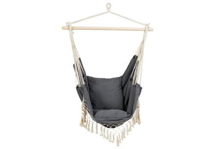 Ibiza hangstoel voor buiten en binnen | Sfeervolle hangmatstoel in bohemian stijl Grijs