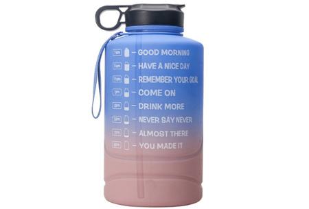 XXL waterfles | Grote drinkfles van 2,2 of 3,78 liter met motiverende tekst! 2,2 liter Blauw/roze