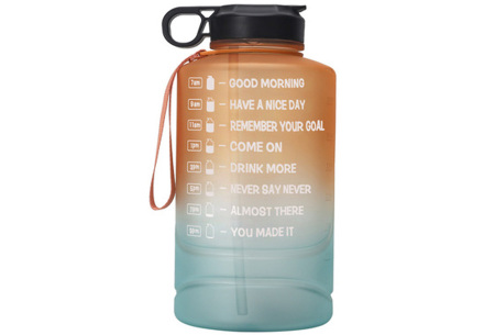 XXL waterfles | Grote drinkfles van 2,2 of 3,78 liter met motiverende tekst! 2,2 liter Oranje/groen