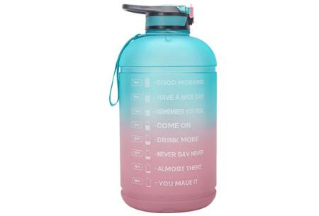 XXL waterfles | Grote drinkfles van 2,2 of 3,78 liter met motiverende tekst! 3,78 liter Aqua/roze