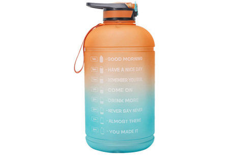 XXL waterfles | Grote drinkfles van 2,2 of 3,78 liter met motiverende tekst! 3,78 liter Oranje/aqua
