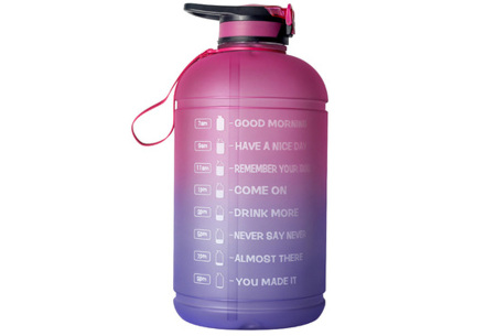 XXL waterfles | Grote drinkfles van 2,2 of 3,78 liter met motiverende tekst! 3,78 liter Roze/paars