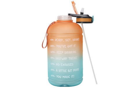 XXL waterfles | Grote drinkfles van 2,2 of 3,78 liter met motiverende tekst!