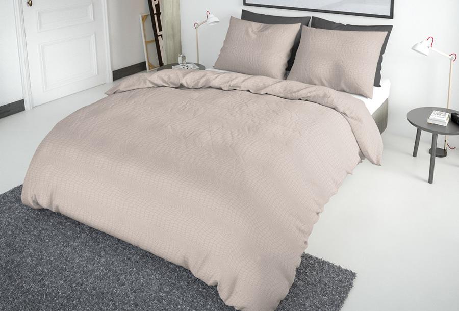 Nice Dreams croco dekbedovertrek 240 x 220 cm - Lichtroze