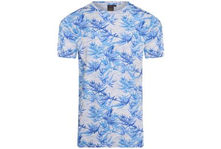 Mario Russo printed T-shirts | Herenshirts met zomerse print - 100% katoen Bloemen - blauw