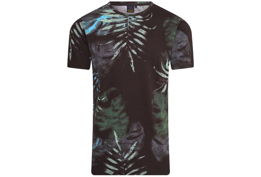 Mario Russo printed T-shirts Maat M - Bloemen - Zwart