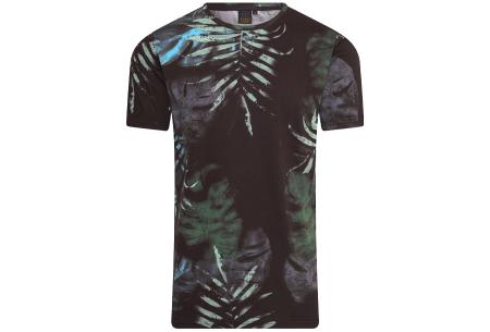 Mario Russo printed T-shirts | Herenshirts met zomerse print - 100% katoen Bloemen - zwart
