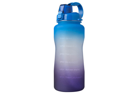 Bidon   Drinkfles van 2 liter met tekst - in 8 kleuren  Blauw/paars