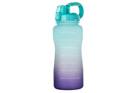 Bidon   Drinkfles van 2 liter met tekst - in 8 kleuren  Groen/paars