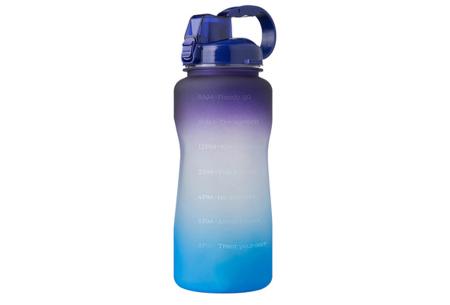 Bidon   Drinkfles van 2 liter met tekst - in 8 kleuren  Paars/blauw