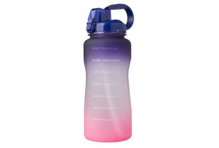 Bidon   Drinkfles van 2 liter met tekst - in 8 kleuren  Paars/roze