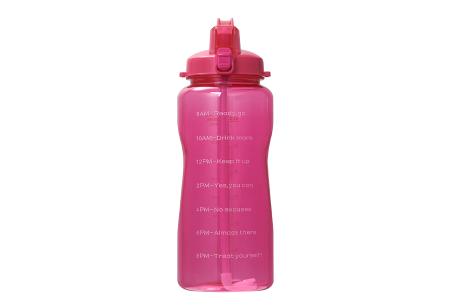 Bidon   Drinkfles van 2 liter met tekst - in 8 kleuren  Roze