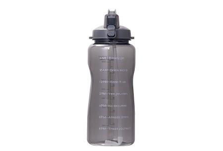 Bidon   Drinkfles van 2 liter met tekst - in 8 kleuren  Zwart