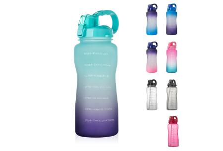 Bidon   Drinkfles van 2 liter met tekst - in 8 kleuren