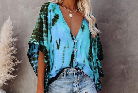 Tie-dye blouse   Korte mouwen blouse voor dames Blauw