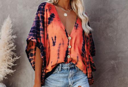 Tie-dye blouse   Korte mouwen blouse voor dames Oranje