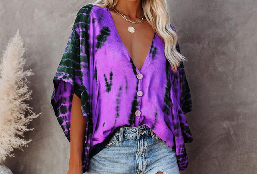 Tie-dye blouse - Maat L - Paars