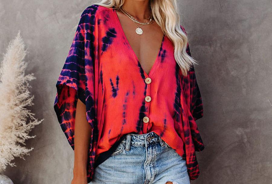 Tie-dye blouse - Maat 2XL - Rood