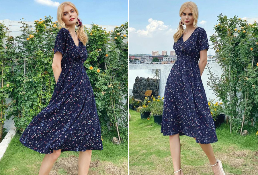 Lovely Floral jurk - Maat XL - Donkerblauw