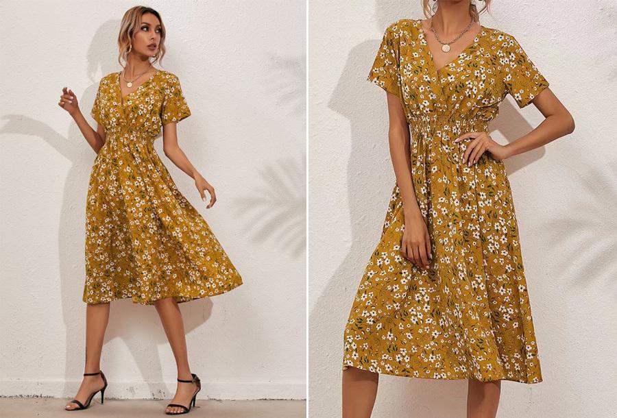 Lovely Floral jurk - Maat XL - Geel