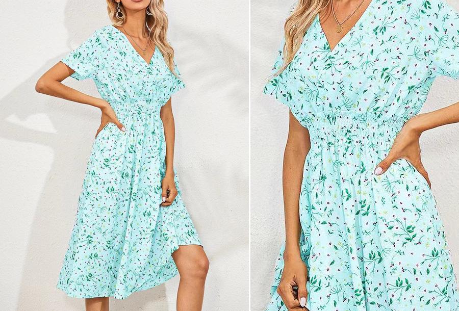 Lovely Floral jurk - Maat XS - Lichtblauw