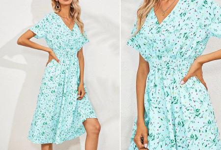 Lovely Floral jurk   Prachtige bloemenjurk voor dames Lichtblauw