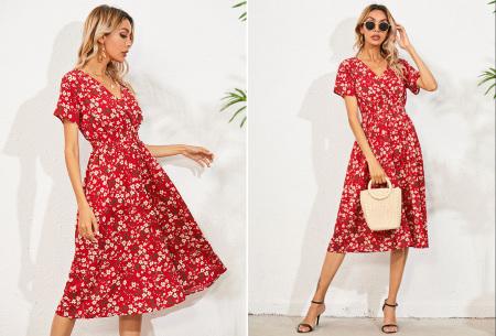 Lovely Floral jurk   Prachtige bloemenjurk voor dames Rood