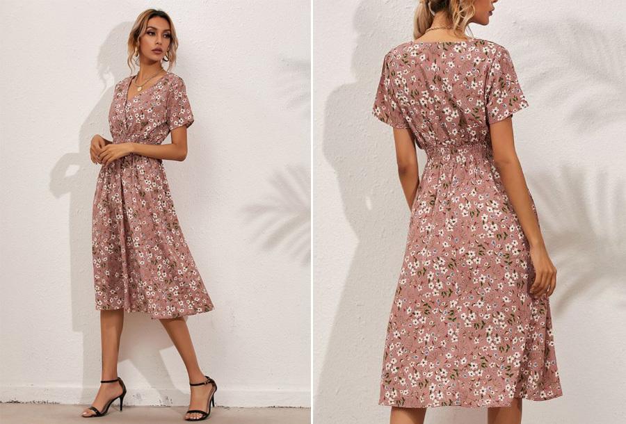 Lovely Floral jurk - Maat L - Roze
