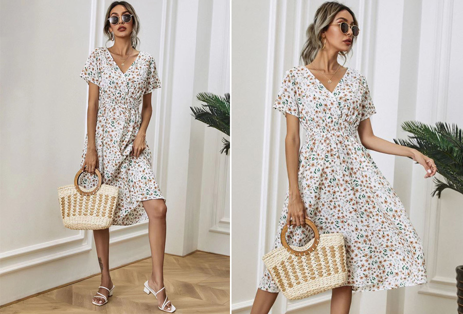 Lovely Floral jurk - Maat S - Wit