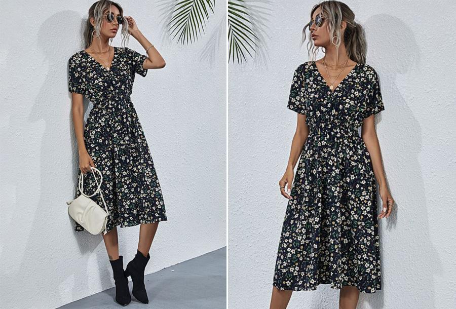 Lovely Floral jurk - Maat XS - Zwart