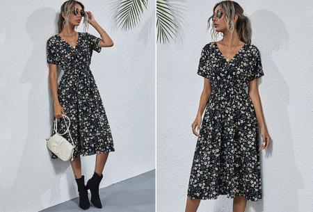 Lovely Floral jurk   Prachtige bloemenjurk voor dames Zwart