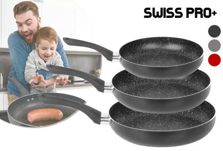 3-delige koekenpannenset van Swiss Pro+ | Voor o.a. inductie, gas, keramisch en oven