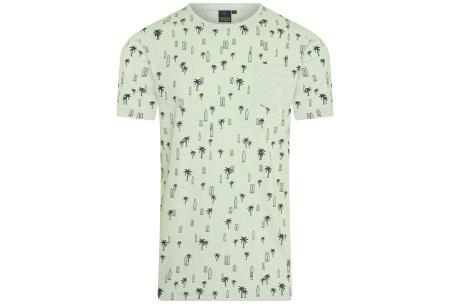 Mario Russo printed T-shirts | Herenshirts met zomerse print - 100% katoen Surf - groen