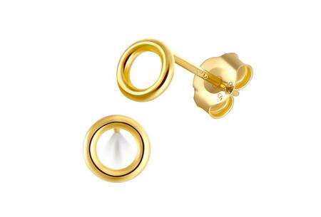 Goud- en zilverkleurige oorbellen | Van 925 Sterling Silver - in 4 minimalistische varianten A - Goudkleurig