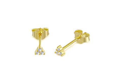 Goud- en zilverkleurige oorbellen | Van 925 Sterling Silver - in 4 minimalistische varianten B - Goudkleurig